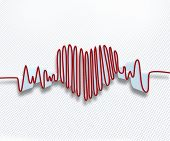 Forma de onda de pulso rojo en blanco papel cuadriculado