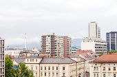 Rooftop View Of Office Buildings Apartments Condos Business  Ljubljana Slovenia Europe Slovenian Alp