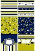 Collection Of Marine Backgrounds In Dark Blue, Yellow And White Colors.