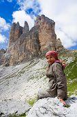 Kind auf Bergwanderung, Tre Cime di Lavaredo