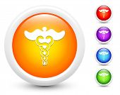 Caduceus Icons on Round Button Collection Original Illustration