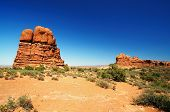 picture of turret arch  - A View Of Balanced Rock at Arches - JPG
