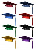 image of eminent  - 3D collection of colorful high quality graduation caps isolated on white background - JPG