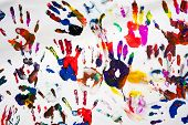 colorful handprints hands on a white canvas