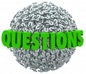 The word Questions on a ball or sphere of question marks to ask for answers, help, support or assistance with a problem or research