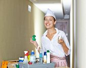 Smiling hotel maid standing with cleaning cart in corridor