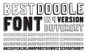 stock photo of dash  - Hand drawn vector doodle font set in four versions of different letters and numbers - JPG