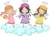Illustration of Three Girl Angels with Head Scarves Standing on Clouds