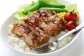 stock photo of scrambled eggs  - teriyaki chicken on rice - JPG