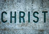 image of chisel  - Religious Concept Image Of The Word Christ Chiseled Into Wall - JPG