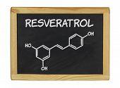 chemical formula of Reveratrol on a blackboard