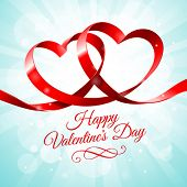 Red ribbon hearts on a blue background