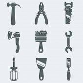 Vector illustration of icons of hand tools