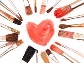 Paintbrushes And Painted Heart