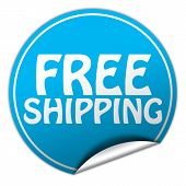 Free Shipping Round Blue Sticker On White Background