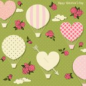 Hot Air Balloons and Hearts for Valentine's Day - Romantic vector illustration with patterned hot air balloons and hearts floating against the rose-strewn sky