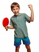 image of ping pong  - table tennis athlete ping pong boy experiencing joy of victory winning success emotions - JPG