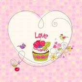 Card with raspberry cupcake and birds.