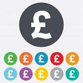 Pound sign icon. GBP currency symbol.