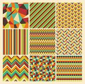 image of diagonal lines  - Seamless geometric hipster background set - JPG