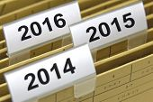 folder for documents at year 2014, 2015, 2016
