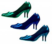 Women's Shoes Classic Style On A White Background. Collage Of Three Pairs