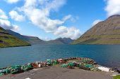 Faroe Islands, Haraldssund Fiord . Natural Landscape .