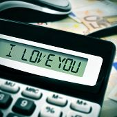 sentence I love you in the display of a calculator