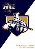 Modern Soldier Veterans Day Greeting Card Retro