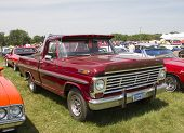 Vintage Red Ford F100 Pickup Truck Side View