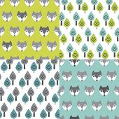 image of kawaii  - Seamless woodland pastel fox an trees illustration background pattern in vector - JPG
