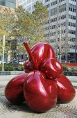 Red Balloon Flower by Jeff Koons at 7 World Trade Center in Manhattan