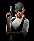 picture of girls guns  - Dangerous and beautiful criminal girl with gun isolated - JPG