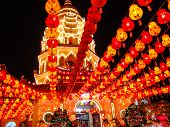 picture of buddhist  - paper lantern in a chinese buddhist temple - JPG