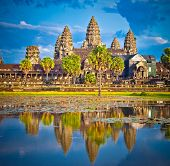 Famous Angkor Wat temple complex in sunset, near Siem Reap, Cambodia.