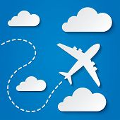 image of transportation icons  - Paper flying plane in clouds - JPG