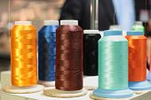 Sewing Threads Multicolored On Spool