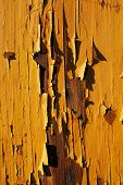 Close-up picture of an old wooden house with pealing off paint