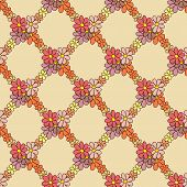 Flower Net Pattern on Beige Background