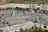 SARAJEVO, BOSNIA AND HERZEGOVINA - AUGUST 12, 2012: Aerial view of Bare�´s cemetery on the outskir
