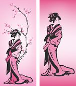 stock photo of geisha  - Spring season Japanese geisha decoration  - JPG