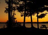 sillohette of picnic table in front of an orange sunset.