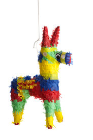 stock photo of mexican fiesta  - A traditional primary colored Mexican party pinata on a white background - JPG