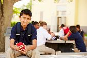 picture of playground school  - Male High School Student Using Phone On School Campus - JPG