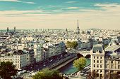 Paris panorama, France. View on Eiffel Tower and Seine river from Notre Dame Cathedral. Vintage, ret