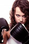 stock photo of martial arts girl  - Martial arts or emancipation idea concept - JPG