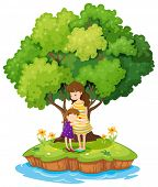 Illustration of an island with a mother and a daughter on a white background