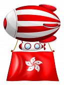 Illustration of an air balloon with the flag of Hongkong on a white background