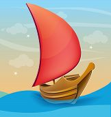Romantic boat with red sail on a sunset background
