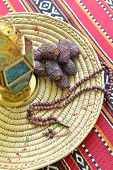 Top view of an arabic dates, lantern and prayer beads - Ramadan objects